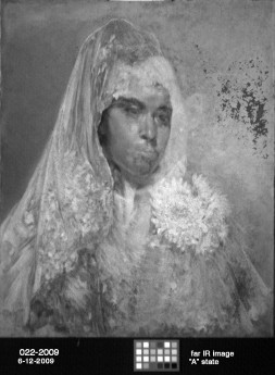 Figure 2: Jose Arpa y Perea, 16x20 oil on canvas; Infra-red image (1000-1100 nm).